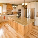 Tủ bếp gỗ Sồi sơn men trắng kết hợp vân gỗ tự nhiên chữ L  TVB 1193