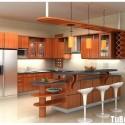 Tủ bếp gỗ tự nhiên Xoan đào kết hợp bàn bar – TVB409