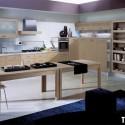 Tủ bếp gỗ Laminate chữ L màu vân gỗ nhạt    TVB667