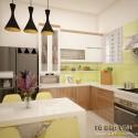 Tủ bếp gỗ công nghiệp Acrylic dạng chữ L   TVB1076