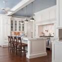 Tủ bếp gỗ Sồi tự nhiên sơn men trắng chữ L có đảo   TVB1002
