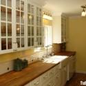 Tủ bếp gỗ tự nhiên Sồi sơn men – TVB341
