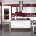 Tủ bếp gỗ Acrylic có đảo   TVB744