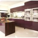Tủ bếp gỗ Acrylic màu tím có đảo   TVB833