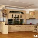 Tủ bếp gỗ tự nhiên sơn men màu trắng kem chữ L có quầy bar   TVB 1197