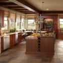 Tủ bếp gỗ căm xe có đảo   TVB0821