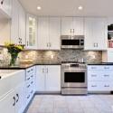 Tủ bếp gỗ Xoan đào tự nhiên sơn men trắng chữ L   TVB0951