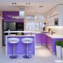 Tủ bếp Acrylic màu tím, chữ L có bàn đảo   TVB 1112