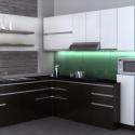 Tủ bếp Laminate màu trắng kết hợp vân gỗ chữ L   TVB0854