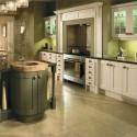 Tủ bếp gỗ tự nhiên sơn men chữ I có đảo   TVB734