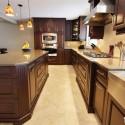 Tủ bếp gỗ tụ nhiên Xoan đào kết hợp bàn đảo – TVB362