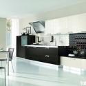 Tủ bếp gỗ Laminate chữ I màu trắng phối đen   TVB0848