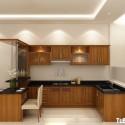 Tủ bếp gỗ Xoan Đào chữ L có quầy bar gắn liền   TVB0917