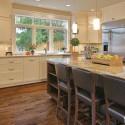 Tủ bếp gỗ tự nhiên sơn men trắng + bàn đảo – TVB591
