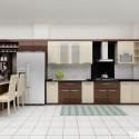 Tủ bếp Acrylic chữ I, có bàn đảo   TVB 1082