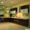 Tủ bếp laminate màu trắng phối vân gỗ, chữ L   TVB 1198