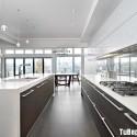 Tủ bếp gỗ Laminate phối Acrylic chữ I có đảo   TVB1011