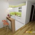 Tủ bếp gỗ Acrylic có bàn Bar   TVB1128