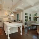 Tủ bếp gỗ Sồi tự nhiên sơn men trắng chữ L có đảo   TVB1025