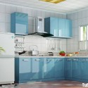 Tủ bếp acrylic màu xanh da trời, chữ L   TVB 1118
