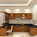 Tủ bếp gỗ tự nhiên Dổi kết hợp bàn bar – TVB410