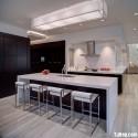 Tủ bếp gỗ Laminate màu nâu đậm chữ L   TVB0826