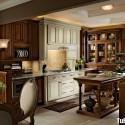 Tủ bếp gỗ tự nhiên chữ I sơn men trắng kết hợp vân gỗ   TVB791