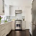 Tủ bếp gỗ Xoan Đào tự nhiên sơn men trắng hình chữ L   TVB1003