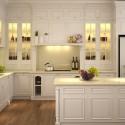Tủ bếp gỗ sồi sơn men trắng chữ L   TVB813