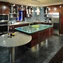 Tủ bếp gỗ Verneer đỏ chữ L kết hợp bàn đảo   TVB727