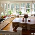 Tủ bếp gỗ Sồi hình chữ L sơn men trắng có đảo   TVB0961