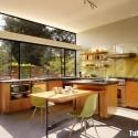 Tủ bếp gỗ Melamin hình chữ L màu vân gỗ có đảo   TVB1156