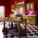 Tủ bếp gỗ Dổi tự nhiên chữ I   TVB0855