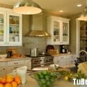 Tủ bếp gỗ tự nhiên sơn men màu trắng chữ I   TVB0881