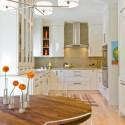 Tủ bếp gỗ tự nhiên sơn men trắng – TVB384