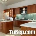 Tủ bếp gỗ Căm xe chữ L, có đảo   TVB 1104