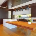 Tủ bếp gỗ Laminate chữ I có đảo   TVB750