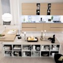 Tủ bếp gỗ Laminate màu vân gỗ nhạt có đảo   TVB768