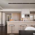 Tủ bếp gỗ Laminate phối Acrylic hình chữ I   TVB1078