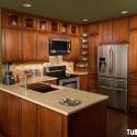 Tủ bếp gỗ xoan đào chữ U   TVB690