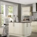 Tủ bếp gỗ xoan đào sơn men trắng,chữ I có bàn đảo   TVB1144