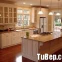 Tủ bếp gỗ tự nhiên Sồi Mỹ sơn men trắng– TVB354