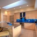 Tủ bếp gỗ Laminate chữ L màu vân gỗ sáng   TVB682