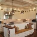 Tủ bếp gỗ Sồi Mỹ sơn men trắng, chữ L   TVB 1068