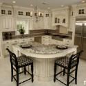 Tủ bếp gỗ Sồi sơn men trắng có đảo   TVB0823