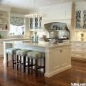 Tủ bếp gỗ Sồi sơn men trắng có đảo   TVB1075