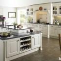 Tủ bếp gỗ Sồi sơn men trắng chữ I có đảo   TVB0825
