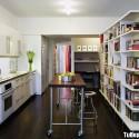 Tủ bếp Acrylic màu trắng chữ I   TVB0985