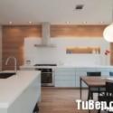 Tủ bếp Acrylic màu trắng chữ I có đảo   TVB 1259