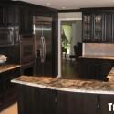 Tủ bếp gỗ Xoan đào sơn men đen   TVB0913